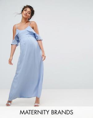 Queen Bee Чайное платье миди с открытыми плечами. Цвет: синий