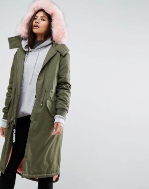 Puffa Оверсайз-парка с искусственным мехом и теплой подкладкой. Цвет: зеленый