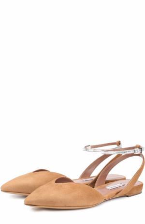 Замшевые балетки с металлизированным ремешком на щиколотке Tabitha Simmons. Цвет: светло-коричневый