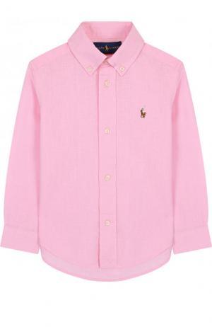 Рубашка из смеси хлопка и льна с воротником button down Polo Ralph Lauren. Цвет: розовый