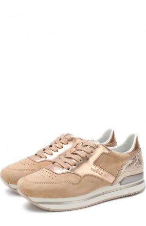 Комбинированные кроссовки на шнуровке Hogan. Цвет: розовый