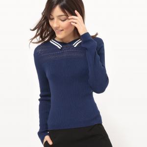 Пуловер с воротником поло из хлопка MADEMOISELLE R. Цвет: красный,темно-синий