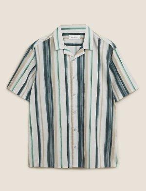 Рубашка хлопковая в полоску с коротким рукавом Autograph. Цвет: темно-синий