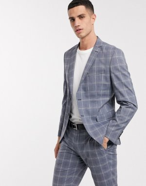 Голубой приталенный пиджак в клетку Selected Homme