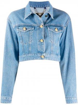 Укороченная джинсовая куртка Elisabetta Franchi. Цвет: синий