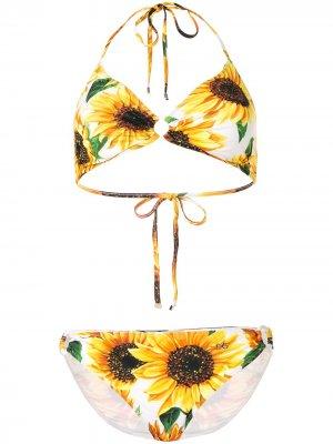 Бикини с принтом Dolce & Gabbana. Цвет: желтый