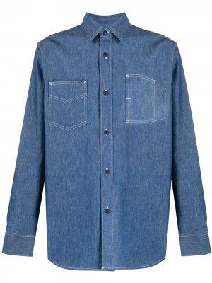 Джинсовая рубашка на пуговицах Fumito Ganryu. Цвет: синий