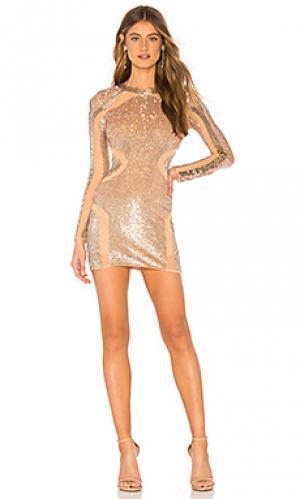 Платье с пайетками aria Michael Costello. Цвет: беж