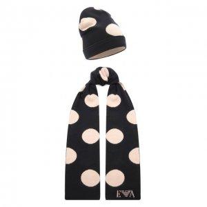Комплект из шарфа и шапки Emporio Armani. Цвет: синий