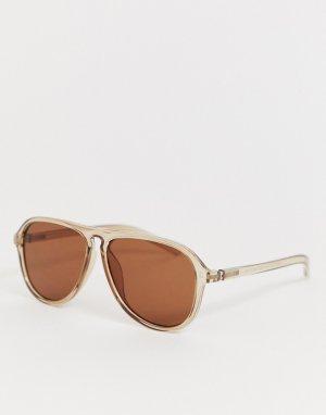Солнцезащитные очки-авиаторы бронзового цвета AJ Morgan. Цвет: коричневый