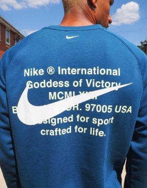 Сине-зеленый свитшот с круглым вырезом и логотипом-галочкой Nike