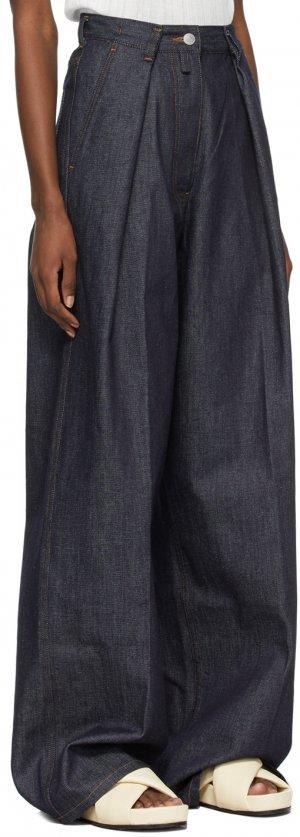 Indigo Pleated Wide-Leg Jeans Dries Van Noten. Цвет: 507 indigo