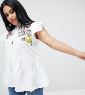 Блузка без рукавов с вышивкой Lost Ink Plus. Цвет: белый