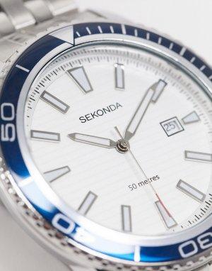 Серебристые часы-браслет в синем футляре -Серебристый Sekonda