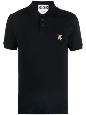 Рубашка поло с вышивкой Teddy Moschino. Цвет: черный