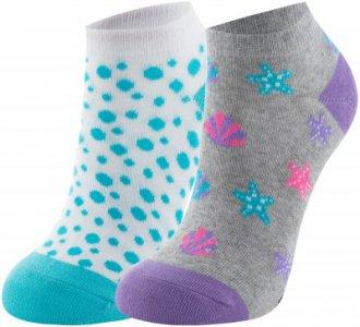 Носки для девочек , 2 пары, размер 24-35 Skechers. Цвет: серый