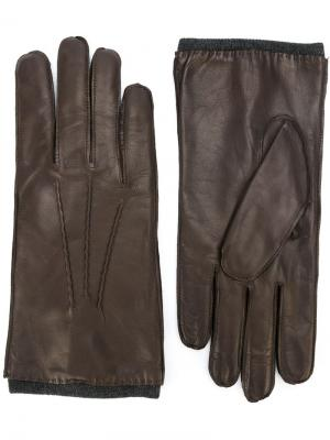 Кожаные перчатки Orciani. Цвет: коричневый