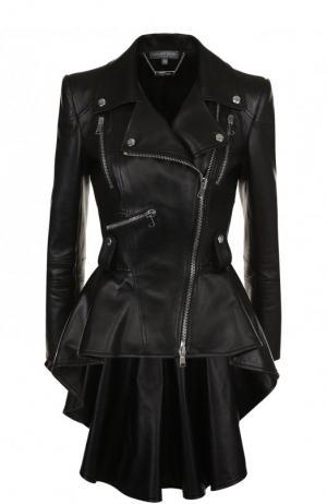 Приталенная кожаная куртка с удлиненной спинкой Alexander McQueen. Цвет: черный