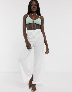 Эксклюзивные белые пляжные брюки -Белый Glamorous