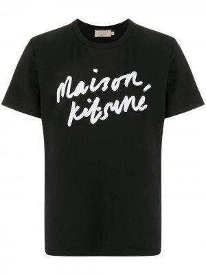 Футболка с логотипом Maison Kitsuné. Цвет: черный