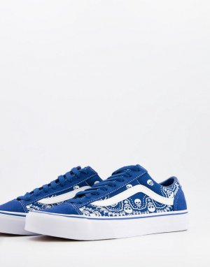 Синие с белым кроссовки принтом в стиле банданы Style 36-Черный цвет Vans