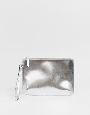 Клатч металлик на молнии -Серебристый ASOS DESIGN