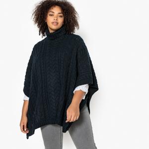 Пуловер с отворачивающимся воротником, из плотного трикотажа, плетеным узором CASTALUNA. Цвет: охра,синий морской
