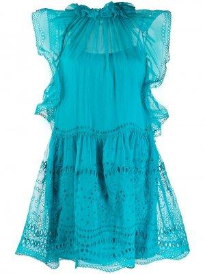 Короткое платье с английской вышивкой Alberta Ferretti