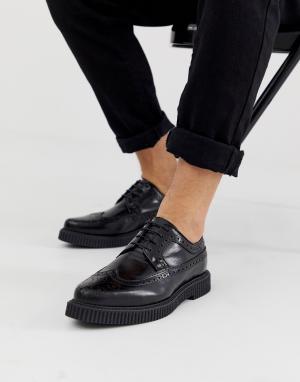 Черные кожаные броги-криперы ASOS DESIGN. Цвет: черный