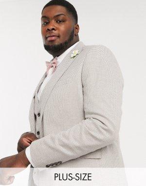 Узкий пиджак с принтом гусиная лапка Plus-Коричневый цвет Gianni Feraud