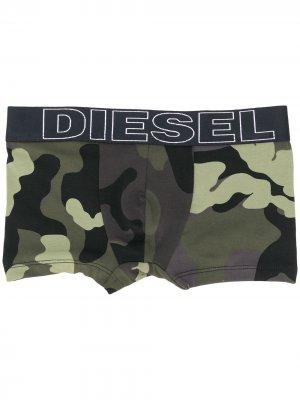 Комплект из двух трусов-брифов с камуфляжным принтом Diesel Kids. Цвет: черный