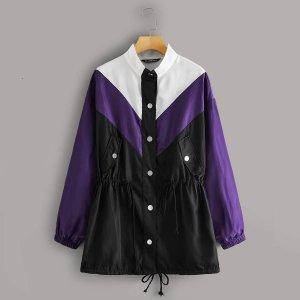 Контрастная однобортная куртка-ветровка SHEIN. Цвет: многоцветный