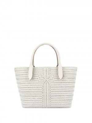 Плетеная сумка-тоут Anya Hindmarch. Цвет: белый