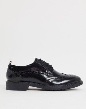 Черные кожаные броги -Черный Base London