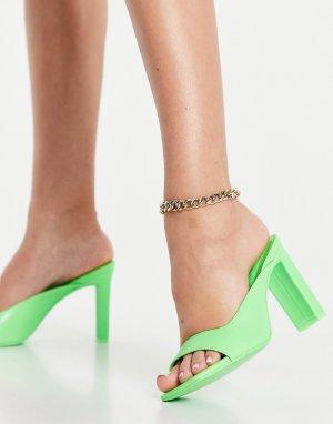 Ярко-зеленые мюли на каблуке Gianina-Зеленый цвет ALDO