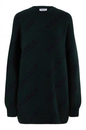 Темно-зеленый шерстяной свитер Balenciaga. Цвет: зеленый