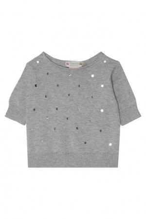 Серый пуловер с пайетками Bonpoint. Цвет: серый