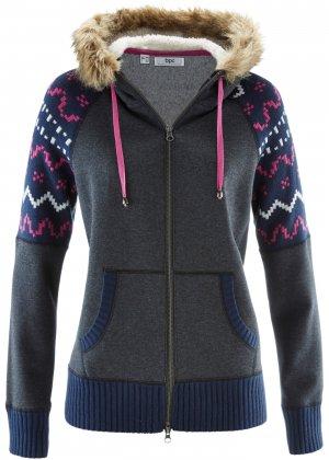 Куртка трикотажная с капюшоном bonprix. Цвет: серый