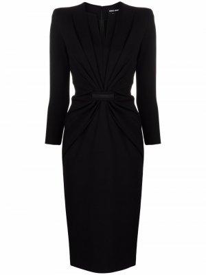 Платье с V-образным вырезом и пайетками Giorgio Armani. Цвет: черный