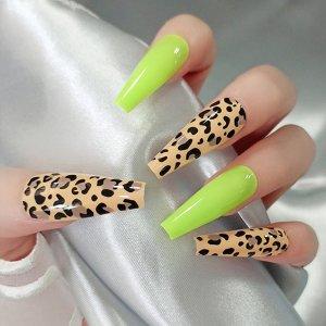 24шт накладные ногти с леопардовым принтом и 1 лист лента SHEIN. Цвет: многоцветный