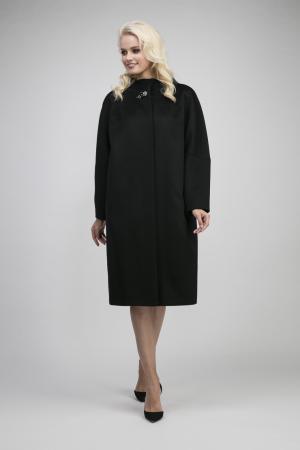 Осеннее шерстяное пальто кокон без меха на большой размер Elisabetta. Цвет: черный