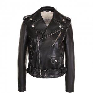 Укороченная кожаная куртка с косой молнией Valentino. Цвет: чёрный