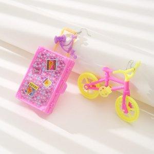Серьги-подвески с велосипедом SHEIN. Цвет: многоцветный