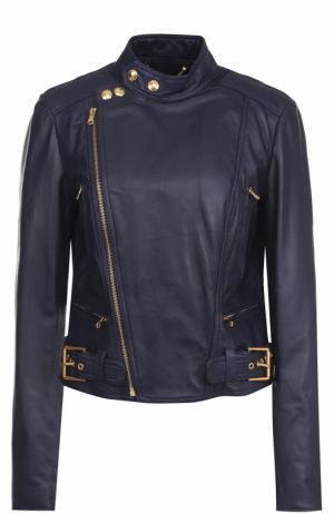 Приталенная кожаная куртка с косой молнией Polo Ralph Lauren. Цвет: синий