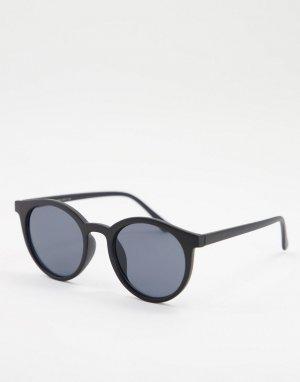 Круглые солнцезащитные очки в черной оправе -Черный цвет Only & Sons