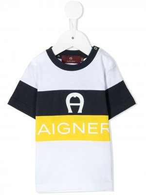 Футболка с контрастными полосками и логотипом Aigner Kids. Цвет: белый