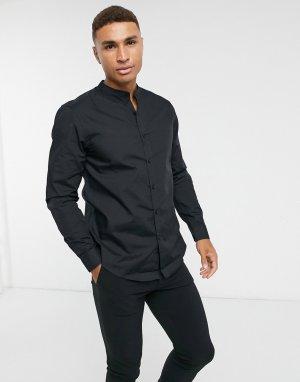 Черная рубашка из поплина с длинными рукавами -Черный цвет New Look