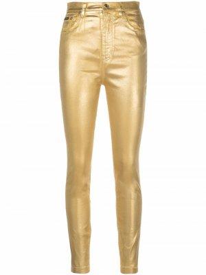 Джинсы скинни с завышенной талией Dolce & Gabbana. Цвет: золотистый