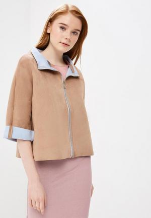 Куртка кожаная Rinascimento. Цвет: бежевый