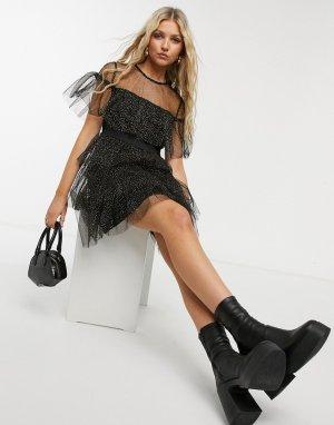 Черное ярусное платье мини в горошек золотистого цвета с эффектом металлик -Черный Forever U